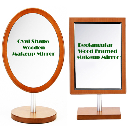 Wooden Makeup Vanity Table Mirror(M) 헤닝스 우드 타원 사각 탁상거울(중)