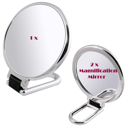 Folding 2x manifying hand table makeup cosmetic mirror(S) 샤인 폴더 손거울 겸용 탁상 확대거울(소)