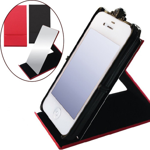 Foldable standing handheld cosmetic mirror with a smartphone stand holder 스마트폰 홀더 겸용 휴대용 접이식 스탠드거울