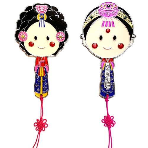 Korean traditional queen bride metal hand mirror with Korean folk knot  한국전통 왕비 신부 메탈 손거울