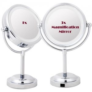 LED lighted vanity makeup Mirror with 3x magnifier LED라이트 3배확대 탁상거울