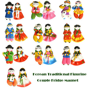 Korean Traditional Figure Colormix Couple Fridge Magnets 한국 민속 칼라믹스 커플 냉장고자석