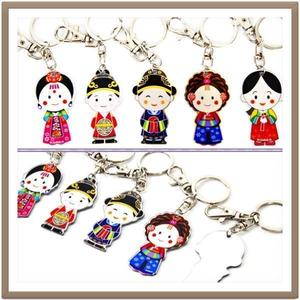 Korean Traditional Character Mirror Keychains 한국 전통캐릭터 거울열쇠고리